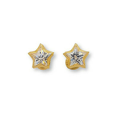 Star Flower Square 14K Solid Yellow Gold Screw Back Stud Earrings Oro Aretes CZ