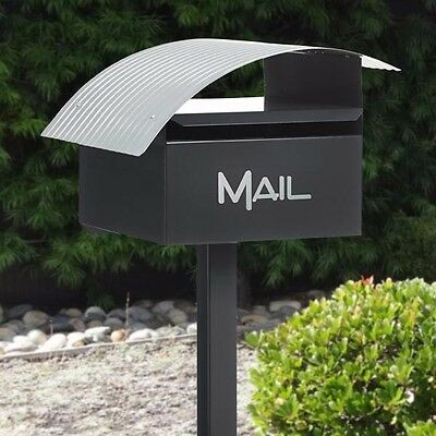 Milkcan Letterbox Wave Box and Post Charcoal Mailbox