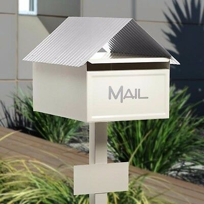 SALE Milkcan Large A4 Cream Valley Letterbox Mailbox INCLUDES Post Number Plate