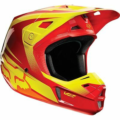 Fox – V2 Imperial Red/Yellow Helmet - Small
