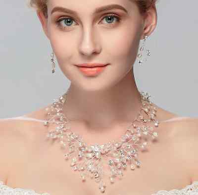 Beautiful Bridal Necklace With Earrings Pearls And Crystals Wedding Jewelry