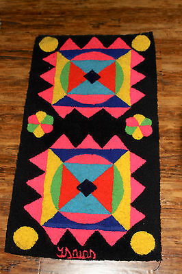 Vintage Handmade Hanging Art Latch Hook Rug Abstract Geometric Psych Native 36""