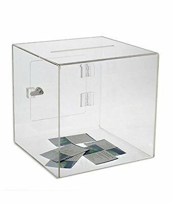Source One Medium Premium Clear Acrylic Ballot Box Donation Box Cube (6 Inch)