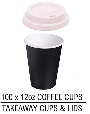 100 X Takeaway Disposable Coffee Tea Hot Drink Paper Cup 12Oz & White Sip Lids