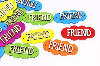 Friend Wooden Button MIxed Colors Friends Wood Tag Bead Two Holes Big 50mm 20pcs