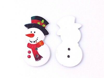 Christmas Snowman Wooden Sewing Button 23mm 50pcs