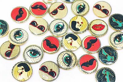 Retro Cartoon Wooden Button Pattern Two Holes Sweater Coat Child Baby 20mm 20pcs