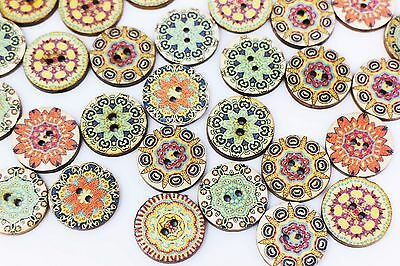 Bohemian Wooden Button BOHO Tribal Flower Floral Pattern Mixed Colors 20mm 20pcs