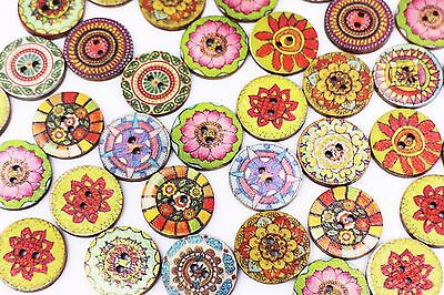 BOHO Wooden Button Bohemian Flower Floral Colorful Mixed Two Holes 20mm 20pcs
