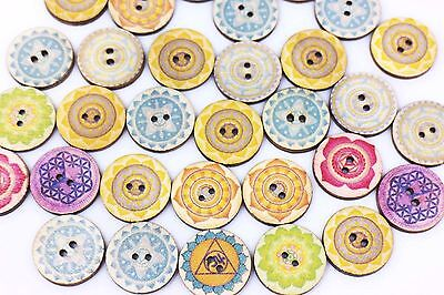 Tribal Flower Wooden Button Ethnic Floral Pattern Mixed Colors Large 20mm 20pcs
