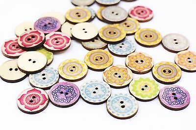 Tribal Flower Wooden Sewing Button Colorful Floral Pattern Two Holes 20mm 100pcs