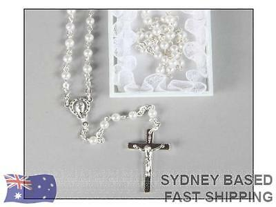 My First Rosary Beads White Baptism Communion Gift