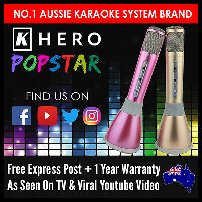 K Hero POPSTAR Portable Microphone Karaoke Machine Wireless System Portaoke