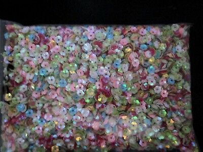 Flower - 6mm  Bead caps -  Sequin Beads - Mixed Color - 150 grams bag - no. 1B