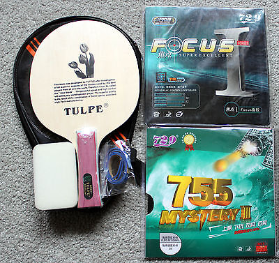 Custom-made Long-Pips + Pips-in Table Tennis Bat/Case, TULPE Blade + 729 Rubbers