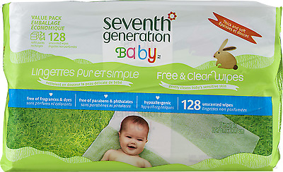 NEW Seventh Generation Free & Clear Baby Wipes Unscented - 128 Count