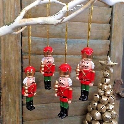 Set of 4 Nutcracker Soldier Traditional Hanging Christmas Tree Decorations