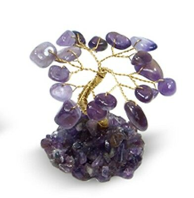 Beautiful Amethyst Crystal Gem chip Tree - Copper Tone Wire - Boxed Gift