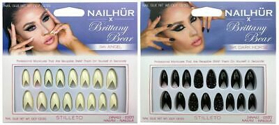 Nailhur - Brittany Bear - Stiletto Almond Reusable Fake Press Glue On Nails Tips