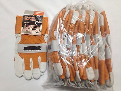 12 Pair Pack Branded Work Glove Closeout, Heavy Duty, A Grade Goat Leather,  L
