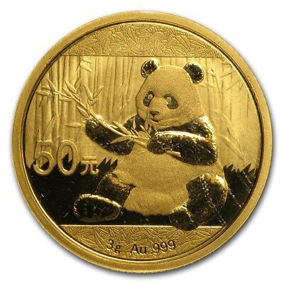 2017 Chinese Panda 3 Gram .999 Gold Bullion Mint Sealed BU 50 Yuan FV Coin