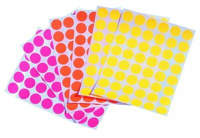 Neon Assorted Colored Coding Dots Labels 3/4 Inch Circle Fluorescent Stickers