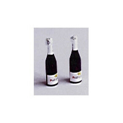 Dolls House Miniatures: Set of Two sparkling champagne style Wine Bottles