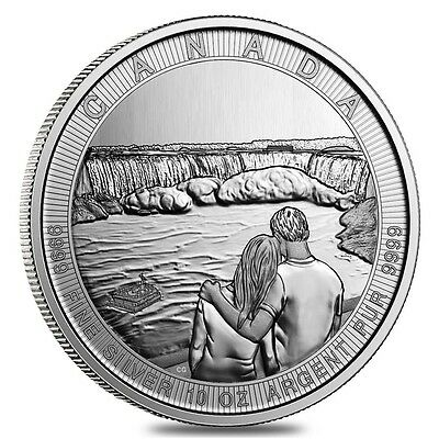 2017 Canada The Great Series Niagra Falls 10 oz .9999 Silver $50 Coin In Capsule