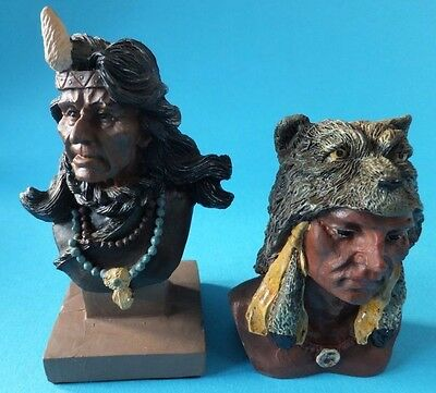 Red Indian Bust Figures x 2 Native American Ornament Resin