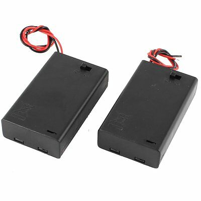 2 Pcs 3 x AAA 4.5V Battery Holder Wired ON/OFF Switch w Cover AD