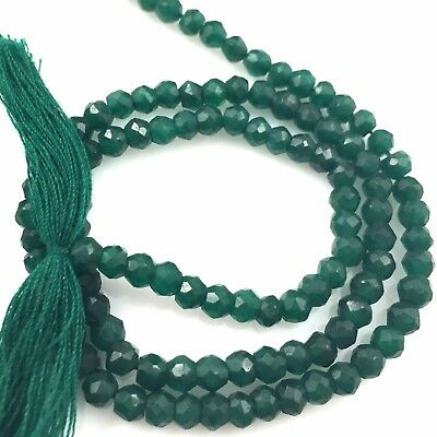 Gemstone Beads-Dyed Emerald Faceted Rondelle Stones-May Birthstone 3.5-4mm-13.5""
