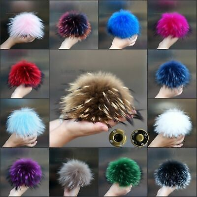 100% Natural Raccoon Fur Pom Pom Ball For Winter Hats Caps Shoes Bags 15 - 17CM