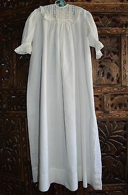 Antique Vintage White Christening Gown Long Lace Bodice Excellent Newborn 6 Mo