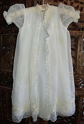 VINTAGE 1950s WHITE CHRISTENING GOWN COAT NYLON EMBROIDERED LACE LONG 6MO-1YR