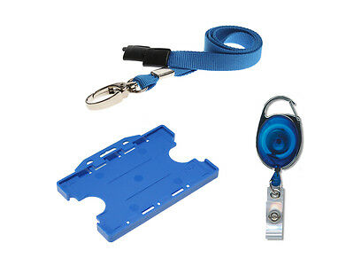 ID Card Holder Double Sided, ID Neck Lanyard & YoYo Badge Reel Set