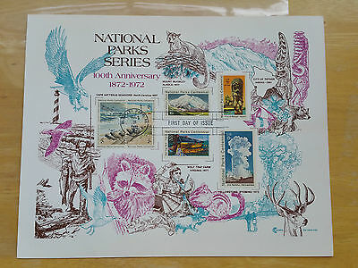 1972 National Parks 100Th Anniversary First Day Sovenier Sheet