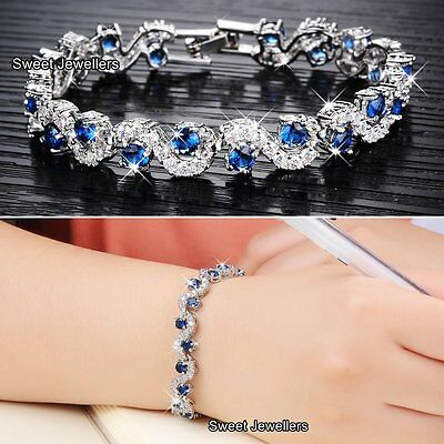 Silver Sapphire Blue & Crystal Diamonds Bracelet - Xmas Gifts For Her Wife Women