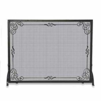 Single Panel Black Wrought Iron Screen With Decorative Scroll