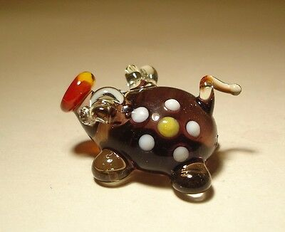 """Blown Glass Figurine """"Murano"""" Art Animal Small PIG with a Daisy Flower"""