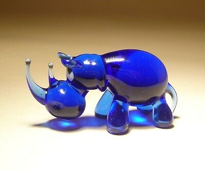 Blown Glass Figurine Small Art Animal Blue Rhino Rhinoceros