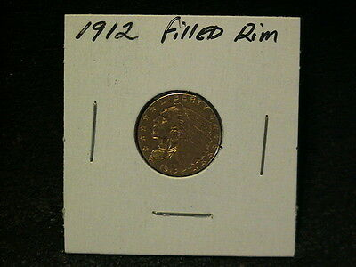 1912 $2.50 Gold Indian Quarter Eagle, Raw Coin, FIlled Rim, Ungraded