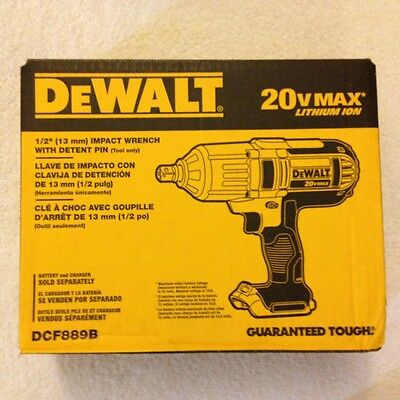 """New Dewalt DCF889B 1/2"""" 20 Volt 20V Max High Torque Impact Wrench New in The Box"""