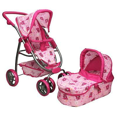 Girls Pretend Play Deluxe Doll Pram with Doll Carry Cot