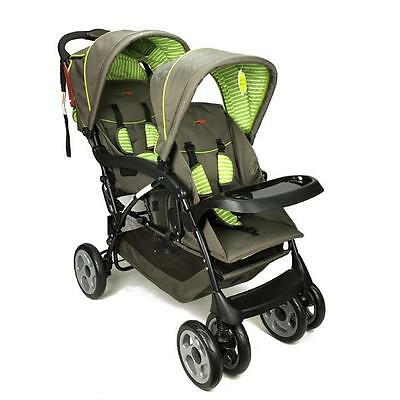 Aussie Baby Hi-Rise Tandem New Born & Toddler Double Pram - Brown
