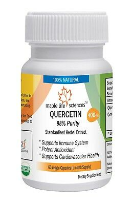 QUERCETIN 98% pure Capsules: 400 mgs Support Immune Health antioxidant