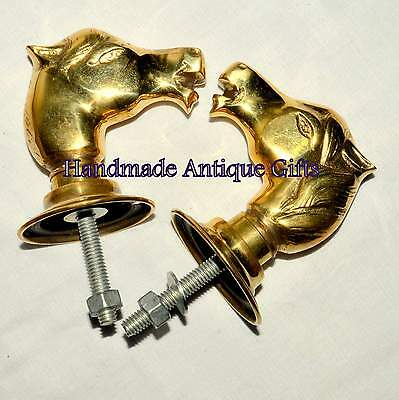 Vintage Horse Door Handles Brass Art Deco Period Architectural Antique