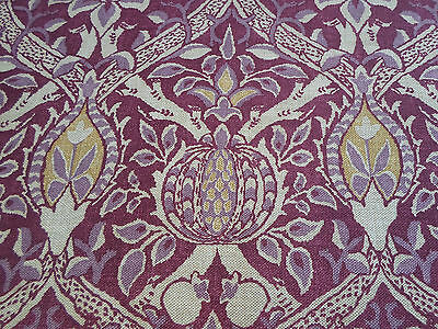 William Morris Curtain/Upholstery Fabric 'Granada' 1.8 METRES (180cm) Wine/Linen