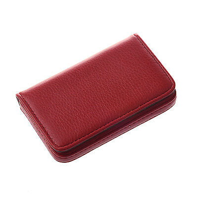 25S8 Business Credit Card Case Holder Currency ticket PU Leather Red
