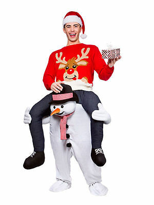 Carry Me Piggy Back Ride On Snowman Mascot Fancy Dress Costume Christmas