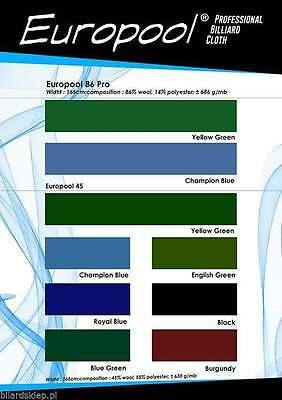 EUROPOOL Professional billiard cloth for table - High Quality - Made in EU